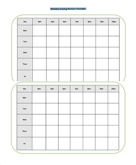 common worksheets 187 printable revision timetable