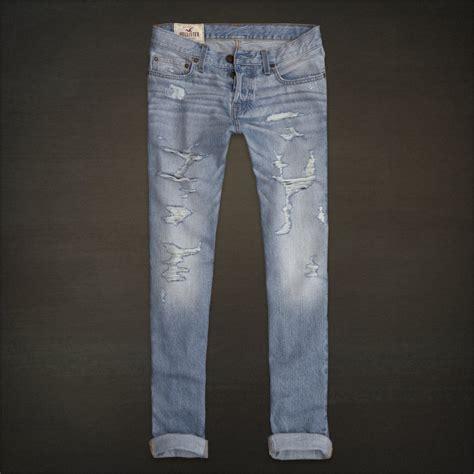 hollister light wash jeans hollister hco men s low rise skinny fit jeans destroyed