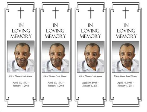 funeral bookmarks template free funeral bookmarks