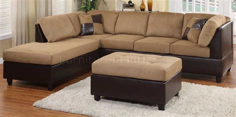 brown microfiber sectional light brown microfiber modern sectional sofa w ottoman