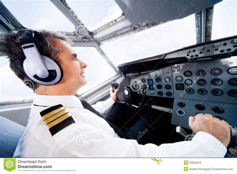 Flying With In Cabin by Pilot Flying An Airplane Royalty Free Stock Images Image