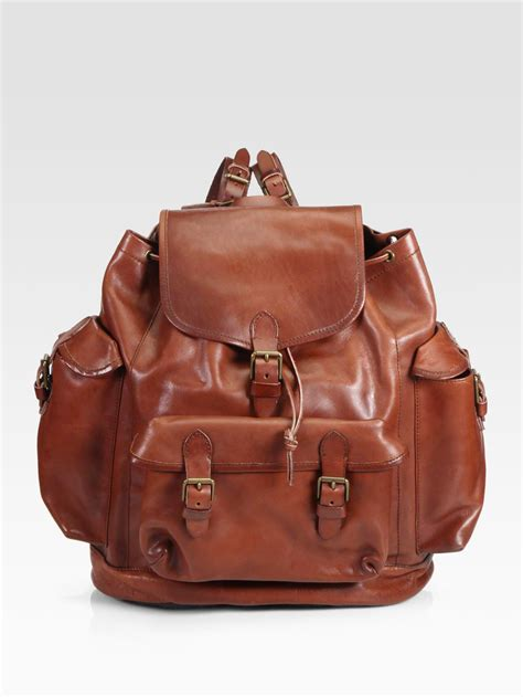leather backpack polo ralph leather backpack in brown for lyst