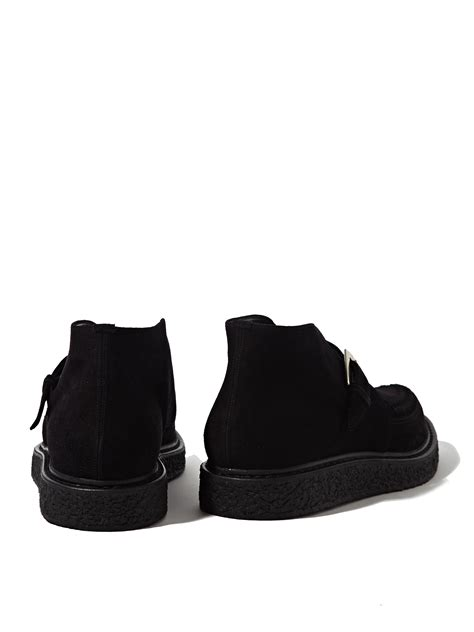 laurent mens suede high creeper shoes in black for
