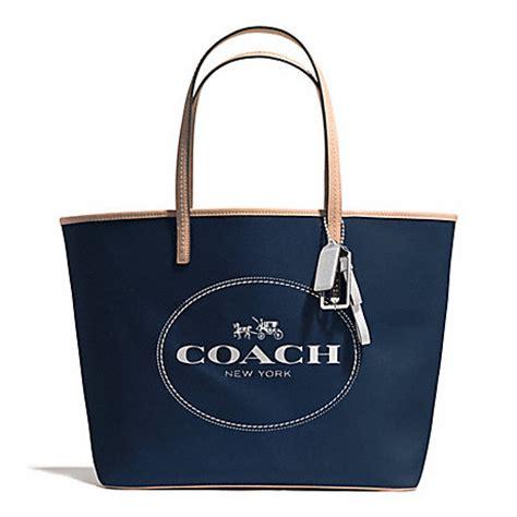 Tas Coach Tote Black Navy Tas coach f31315 metro and carriage tote silver navy coach handbags coach