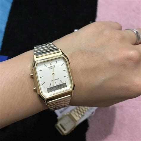 Casio Aq 230ga Km75 casio aq 230ga 9dm gold vintage preloved s fashion watches on carousell