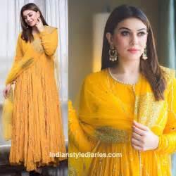 Hansika Motwani In Mahi Fashion Yellow Anarkali Suit