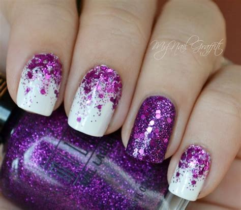 glittery purple nail art purple glitter gradient on white nails favnails