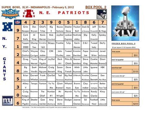 nfl football pool template sheets printable football pool boxes template football