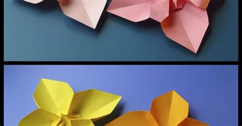 Origami With Copy Paper - fiore quadrato e variante 1 square flower and variant 1