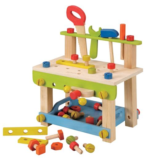 wooden toy work bench workbench kids with tools made with natural wood