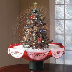 tabletop snowing christmas tree the green head