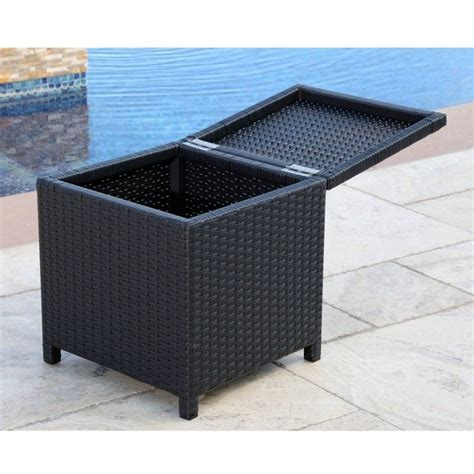 Abbyson Living Carlsbad Outdoor Wicker Storage Ottoman In Black Wicker Ottoman