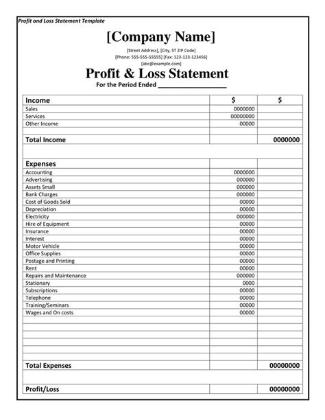 profit  loss statement template   page