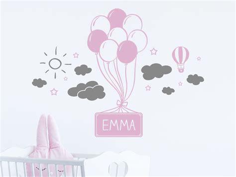 wandtattoo kinderzimmer luftballons wandtattoo luftballons mit wolken und name wandtattoo de