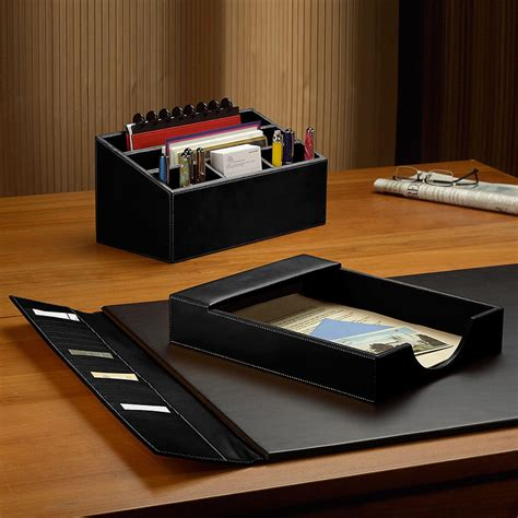 desk set three pieces leather desk set desk