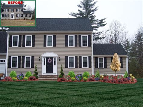 Colonial House Design by Landscape Design With Spiral Trees Front Of Home