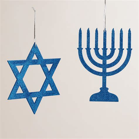 blue glittered wood hanukkah decor set of 2 world market