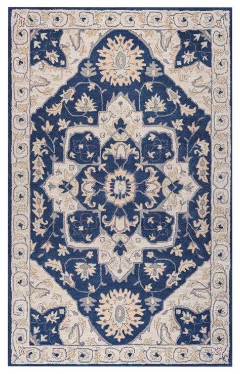 Wool Area Rugs 8 X 10 Valintino Vine Medallion Wool Area Rug In Blue Gray 8 X 10