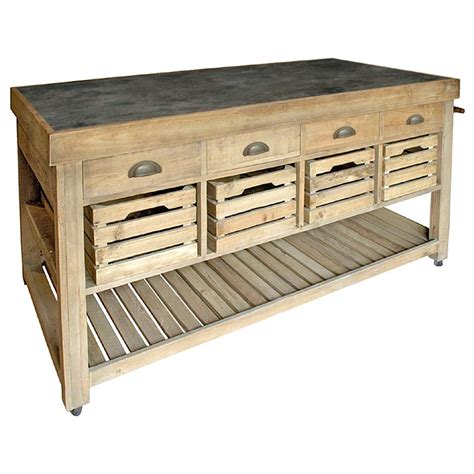 bluestone kitchen island in kitchen islands carts marat french country reclaimed pine blue stone 4 crate