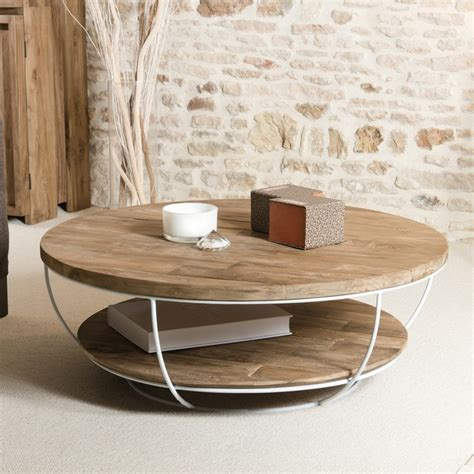 Table Basse Bois Ronde by Table Basse Ronde Bois Et M 233 Tal Blanc 100cm Tinesixe
