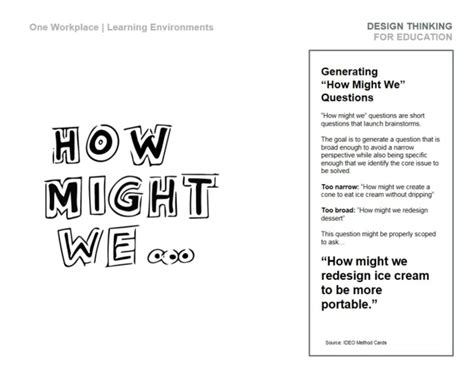 design thinking how might we d thinking workbook