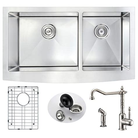 brushed nickel farmhouse sink anzzi elysian farmhouse stainless steel 33 in double