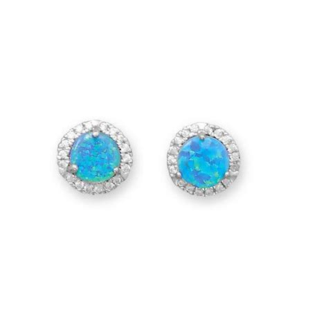 blue opal earrings bright blue opal and white cz round halo stud earrings