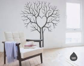 Living Room Wall Decals Stickers Heart Love Twin Tree Without Leaf Leaves House Home Art