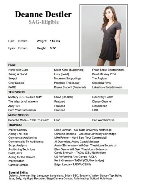 Acting Resume Template by Best 25 Acting Resume Template Ideas On Free