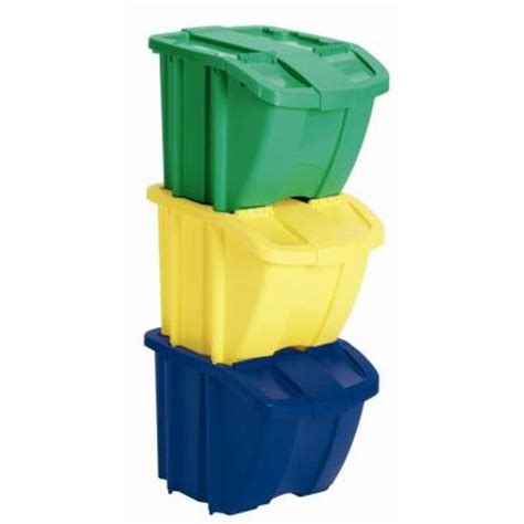 suncast recycle bin set 3 bh183pk the home depot