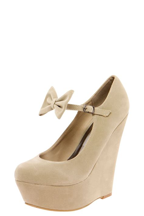 boohoo joanna bow trim buckle wedge shoes ebay