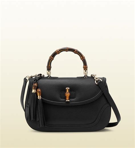 New Gucci Catur Kulit Leather Black gucci new bamboo leather top handle bag in black bamboo lyst