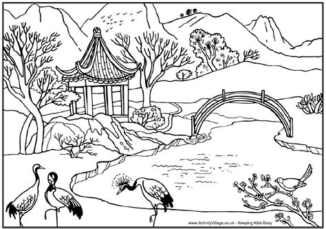 Chinese Garden Coloring Pages | landscape coloring pages for adults coloring home