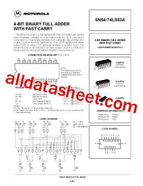 transistor e13007 datasheet pdf 74ls83 datasheet pdf motorola inc