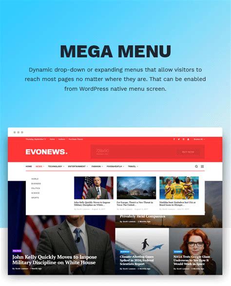 newspaper theme mega menu evonews news magazine wordpress theme by evolle