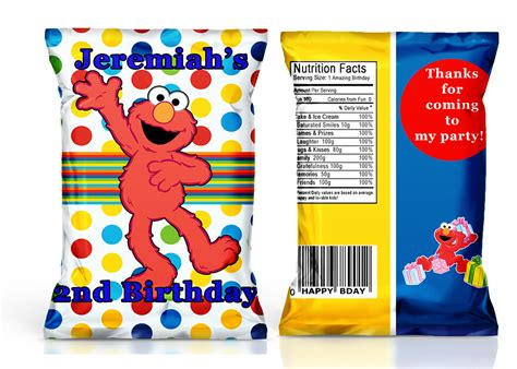 Custom One Of A Bags Chip by Elmo Birthday Favorelmo Chip Bagsdigital File