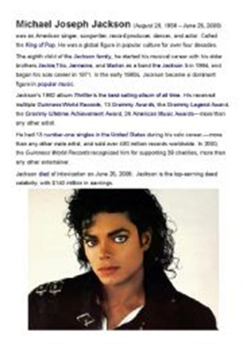 michael jackson biography for beginners english worksheets using songs worksheets page 29