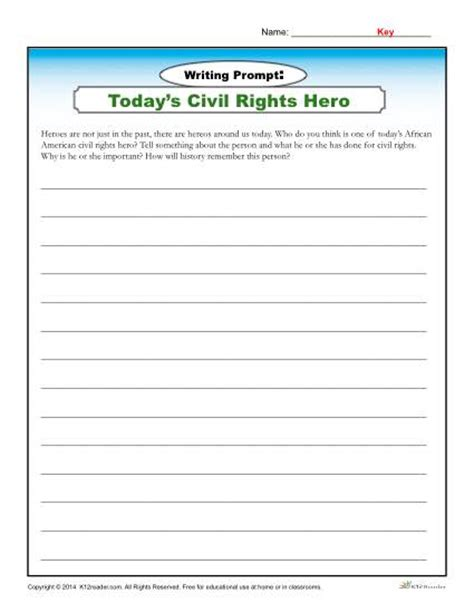 printable writing worksheets 6th grade african american history month writing prompt