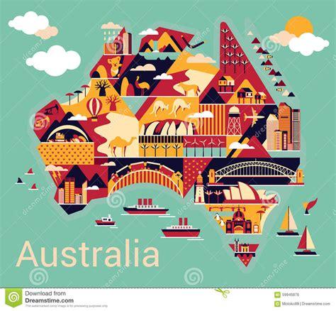 cartoon map  australia stock vector image  clouds