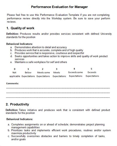 word evaluation form template performance evaluation 9 free documents in pdf