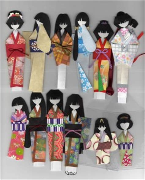 How To Make Origami Dolls - japanese angled ningyo forms kimono origami doll book