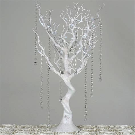 white trees with lights 30 quot glittered vogue manzanita centerpiece tree with led