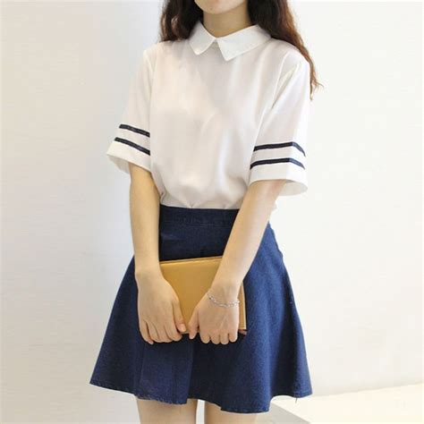 44126 Casual Blue Stripe S M L Skirt Le181117 Import 28 best images about jean skirt white shirt on