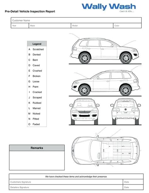 vehicle damage report form template vehicle damage report template