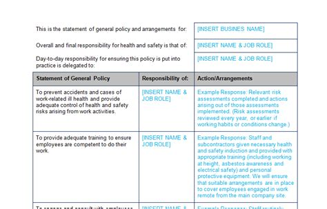 health and safety policy template for small business health and safety policy template bizorb