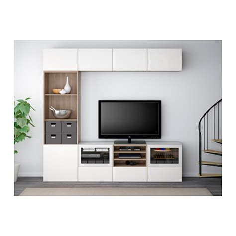 besta system best 197 tv storage combination glass doors black brown