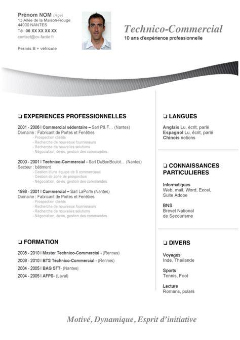 Modele Cv Commercial Word by Mod 232 Le Cv Word Commercial Lettre De Motivation