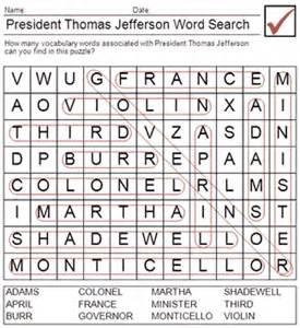 president thomas jefferson word search answers