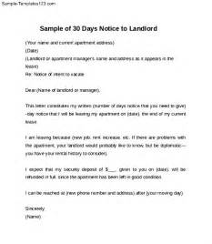 Notice Letter To Landlord Template by Sle Of 30 Days Notice Letter To Landlord Sle Templates