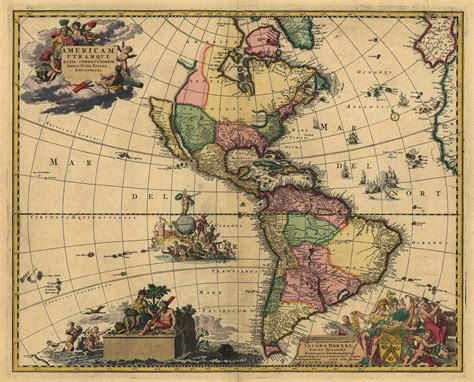 america map vintage 1700 s map of south america canada mexico antique